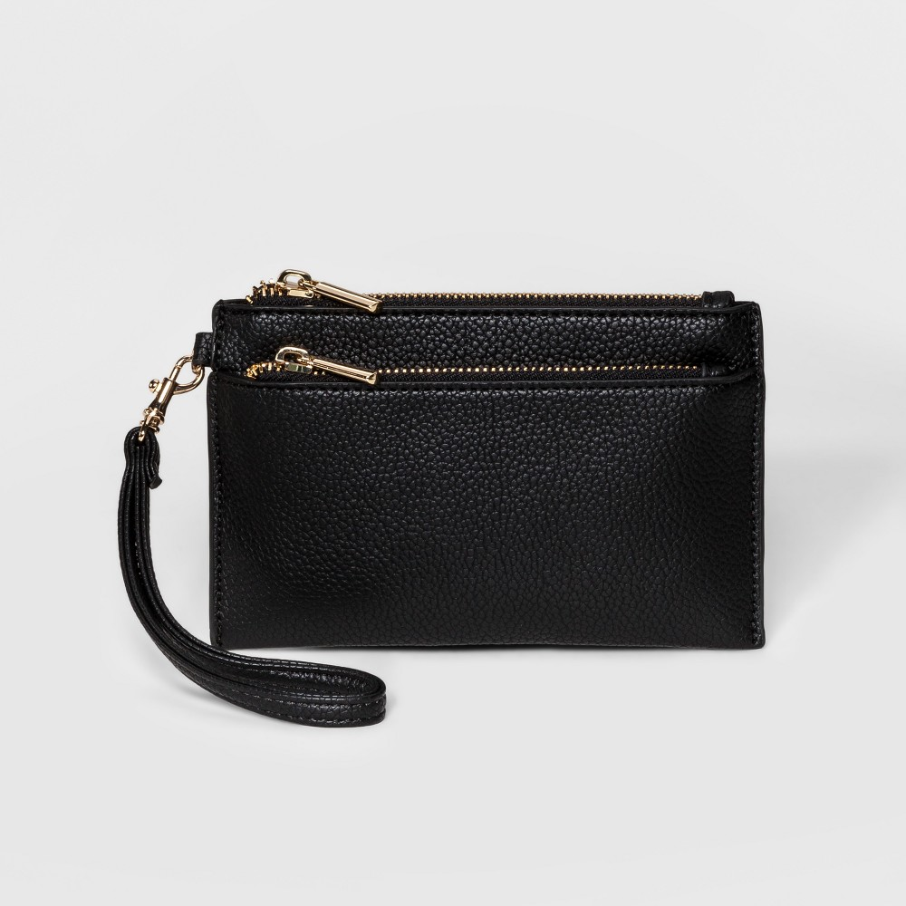 Double Zip Pouch Clutch - A New Day Black, Women's, Size: Small