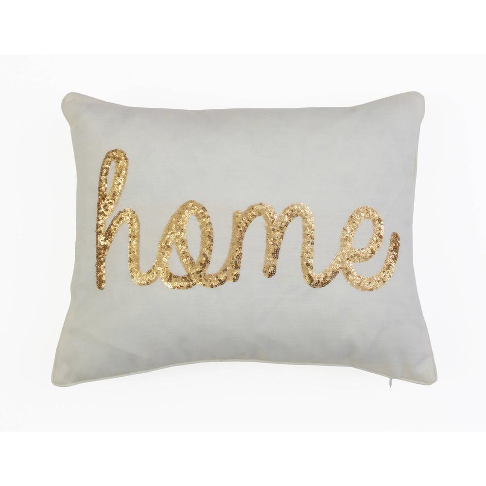 D 233 Cor Therapy 14 X18 Home Sequin Script Faux Linen Throw Pillow Cream Gold