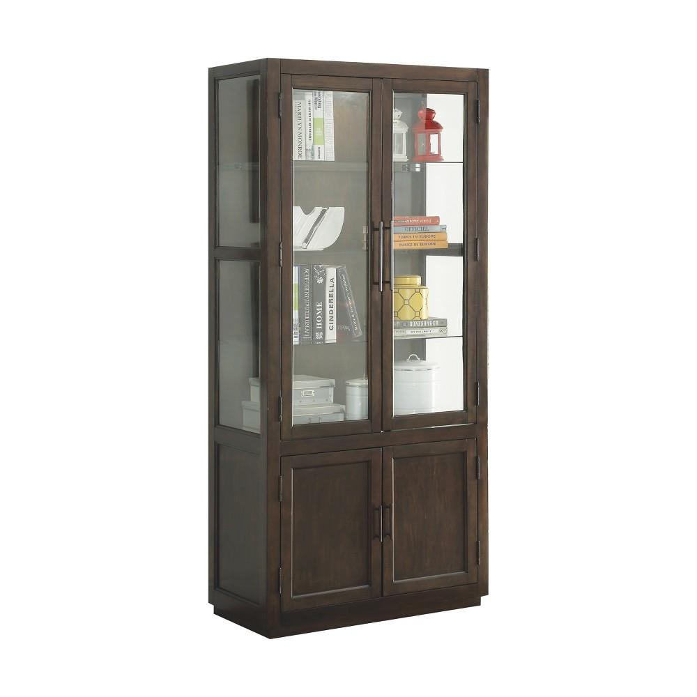 Acme Furniture Alanus Curio Cabinet Walnut Brown