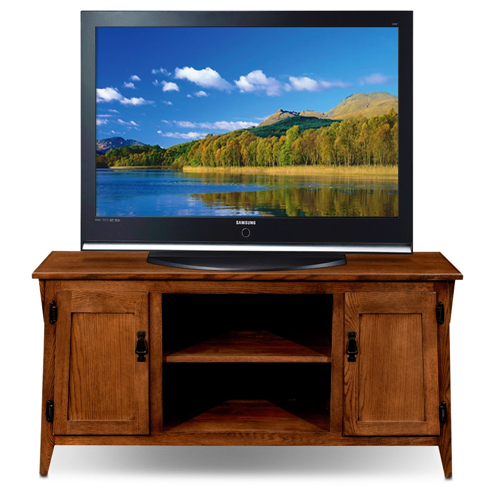 50 Mission Oak Two Door TV Console - Russet - Leick Home, Brown