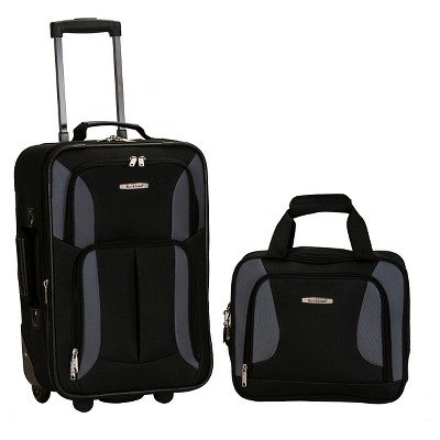 Rockland Fashion 2pc Luggage Set - Black/Gray