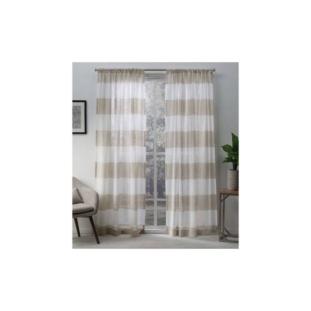 108 34 X50 34 Darma Pinch Pleated Sheer Window Curtain Panels Linen Exclusive Home