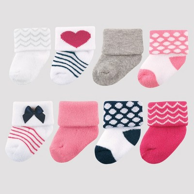 Luvable Friends Baby Girls' 8pk Sock Set - Dark Pink 0-6M