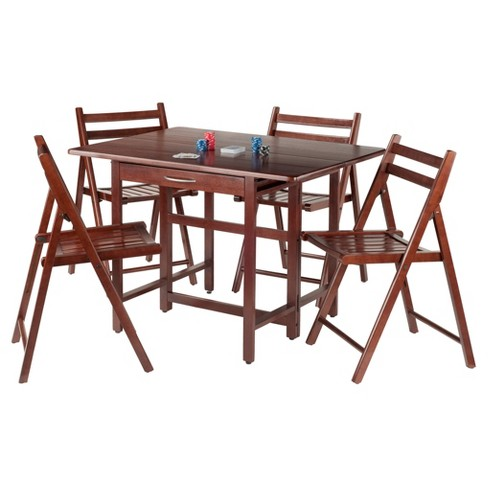 Taylor 5 Piece Set Drop Leaf Table With Folding Chairs Walnut Winsome