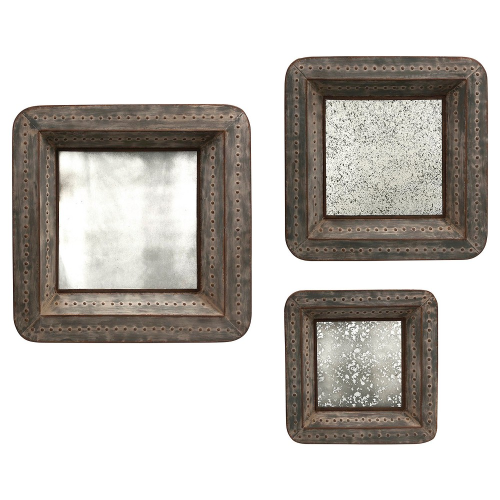Image of Aurora Distressed Mirrored Decorative Wall Sculpture - Set of 3, Brown Patina