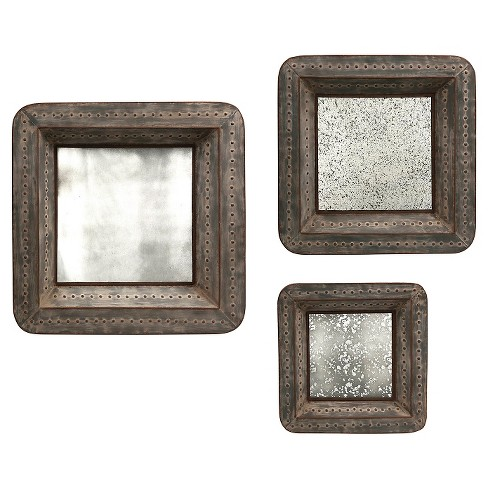 Aurora Distressed Mirrored Decorative Wall Sculpture - Set of 3 : Target