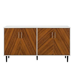 "58"" Modern Bookmatch Buffet White/Teak - Saracina Home"