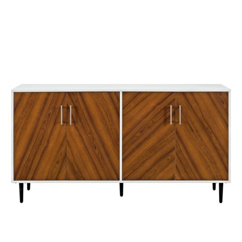 "58"" Modern Bookmatch Buffet White/Teak - Saracina Home - image 1 of 4"