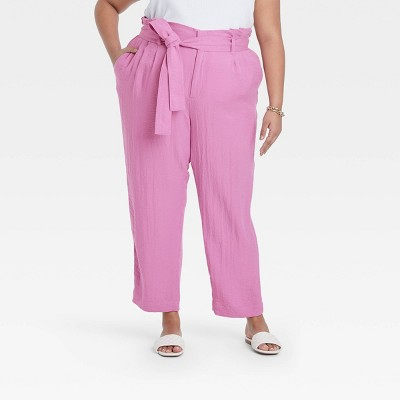 Women's High-Rise Relaxed Fit Paperbag Ankle Pants - A New Day™ Purple