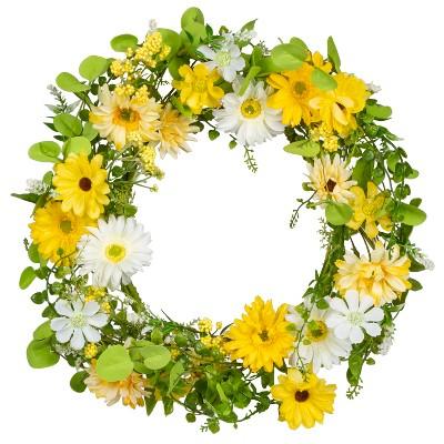 """GIL 20"""" Floral Daisy Floral Single Wreath"""