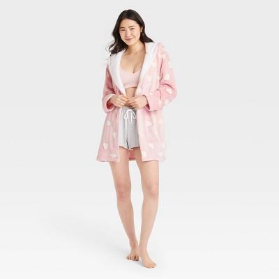 Women's Heart Print Cozy Short Robe - Colsie™ Pink