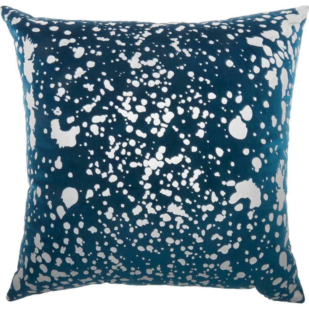 Image of Luminescence Metallic Splash Square Throw Pillow Teal - Nourison, Blue