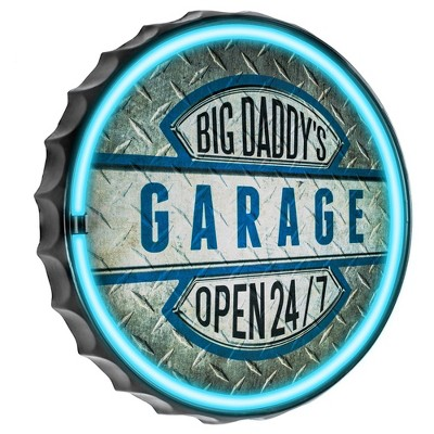 Big Daddy's Garage LED Neon Light Sign Wall Decor Blue/Silver - Crystal Art Gallery