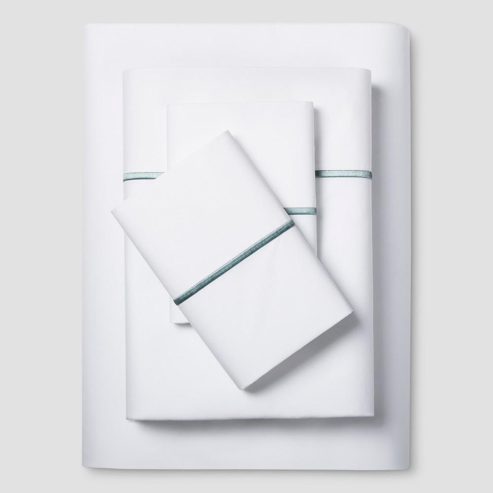 Hotel Supima Satin Stitch Sheet Set (Queen) Aqua (Blue) 300 Thread Count - Fieldcrest