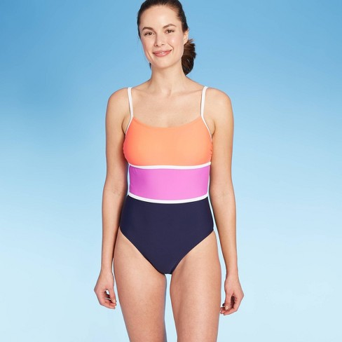 Women's Horizontal Colorblock Medium Coverage One Piece Swimsuit - Kona Sol™ Navy - image 1 of 4