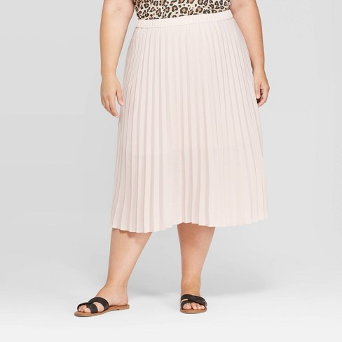 Women's Plus Size Midi Pleated Skirt - Ava & Viv™ Light Blush 1X - image 1 of 2