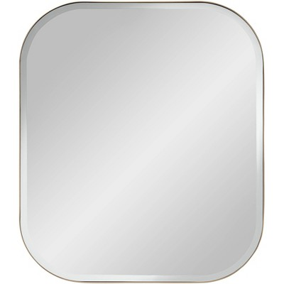 "Possini Euro Design Bailey Brushed Gold 27"" x 32"" Rectangular Wall Mirror"