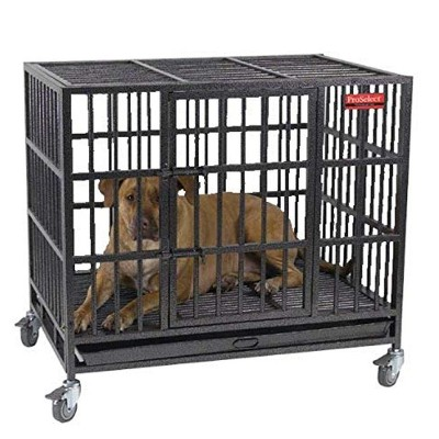 ProSelect Empire Heavy Duty Steel 42x30x41 Inch Cage Crate for Large Dogs with Tray and 4 Removable Caster Wheels, Black