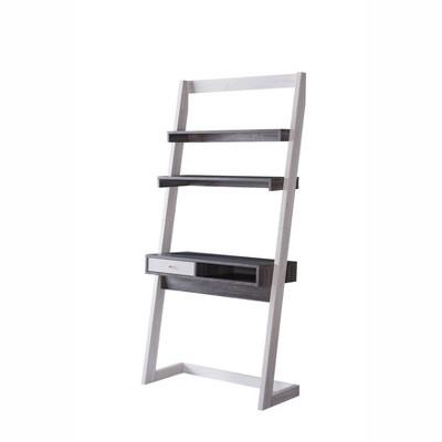 Holten 2 Open Shelves Leaning Desk White Oak/Distressed Gray - miBasics