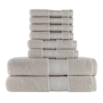8pc 100% Organic Cotton Bath Towel Set Stone - Made Here