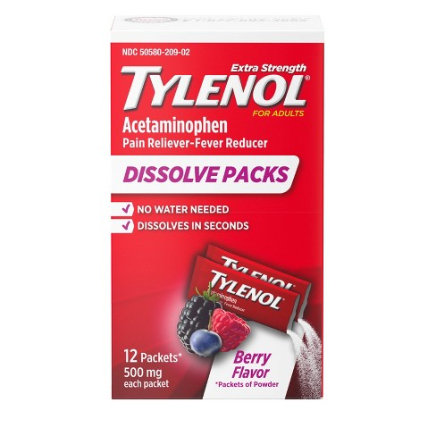 Tylenol Acetaminophen Extra Strength Powder Pack - Berry - 12pk - image 1 of 4