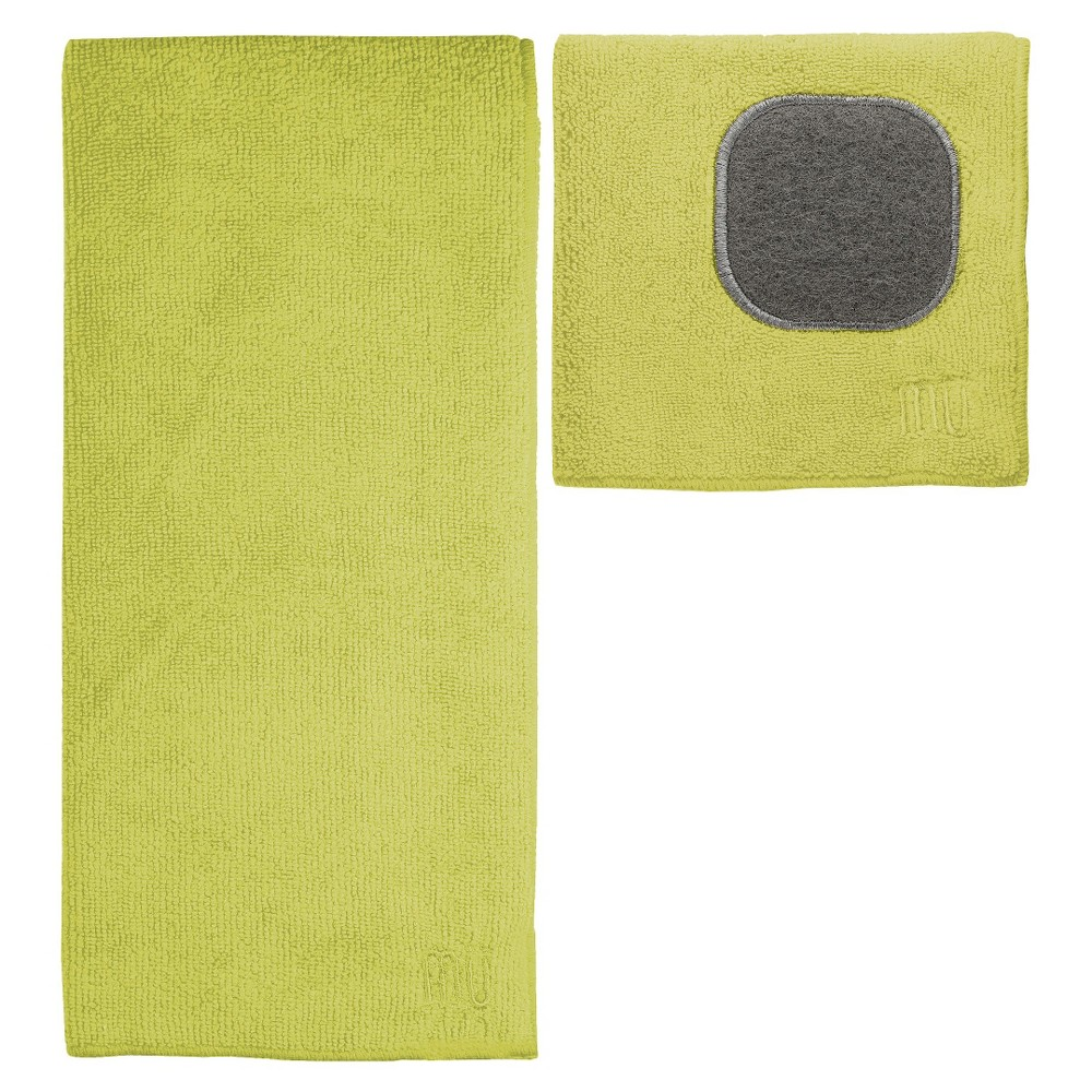Image of 2pc Ultra Absorbent Solid Microfiber Kitchen Towel With Scrubber Cloth Light Green - Mu Kitchen