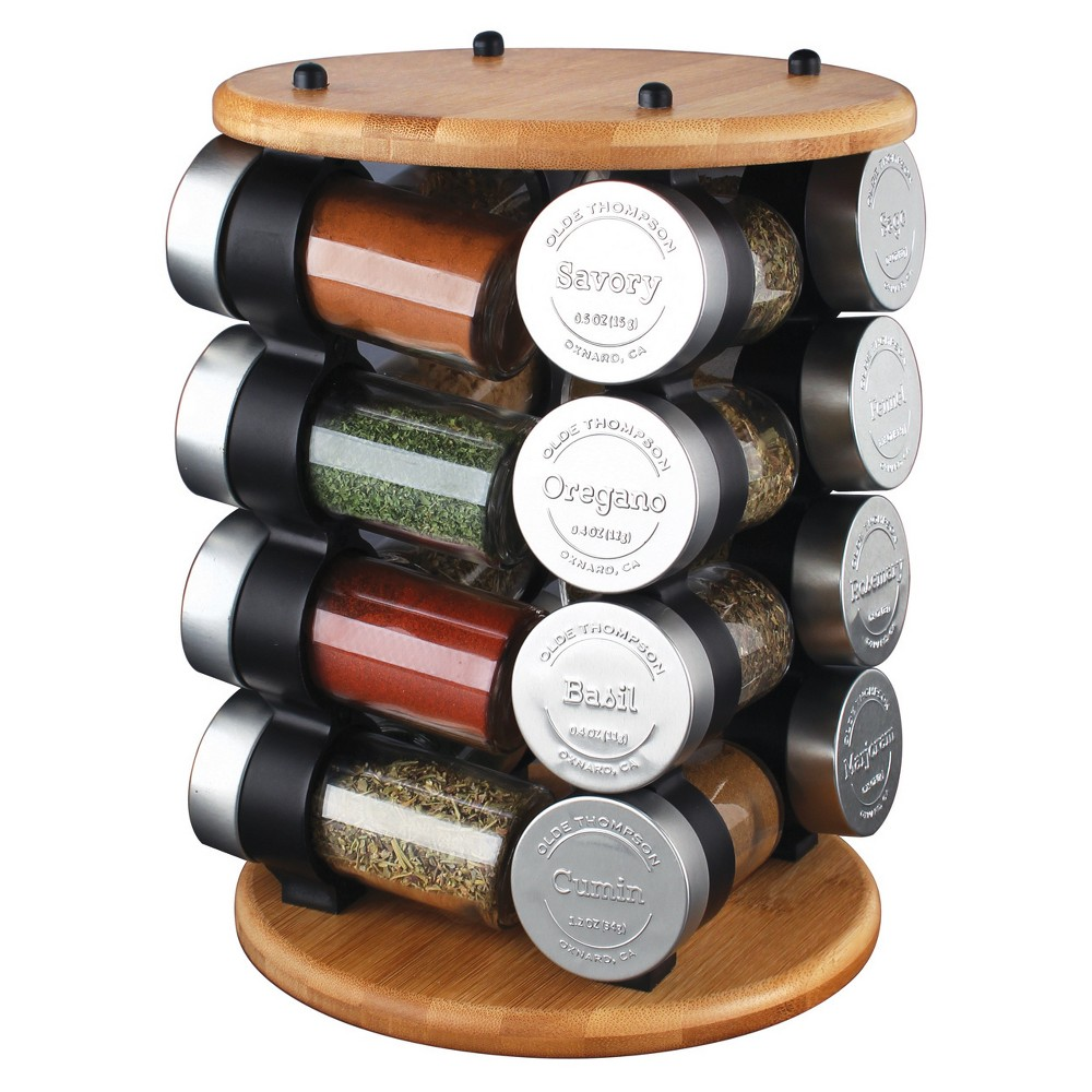 Image of 17pc Wood Carousel Spice Rack - Olde Thompson
