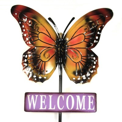 "Home & Garden 58.0"" Butterfly Welcome Stake Yard Decor Poke Summer Direct Designs International  -  Decorative Garden Stakes"