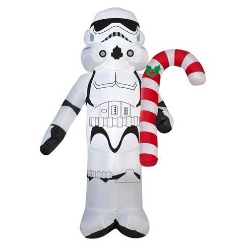 star wars holiday inflatable decoration stormtrooper holding candy cane - Star Wars Inflatable Christmas Decorations