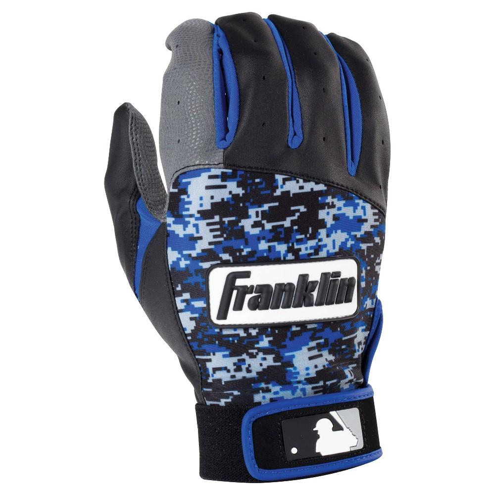 Franklin Sports Digitek Adult Batting Glove - Gray/Black/Royal Digi (S), Black Gray White