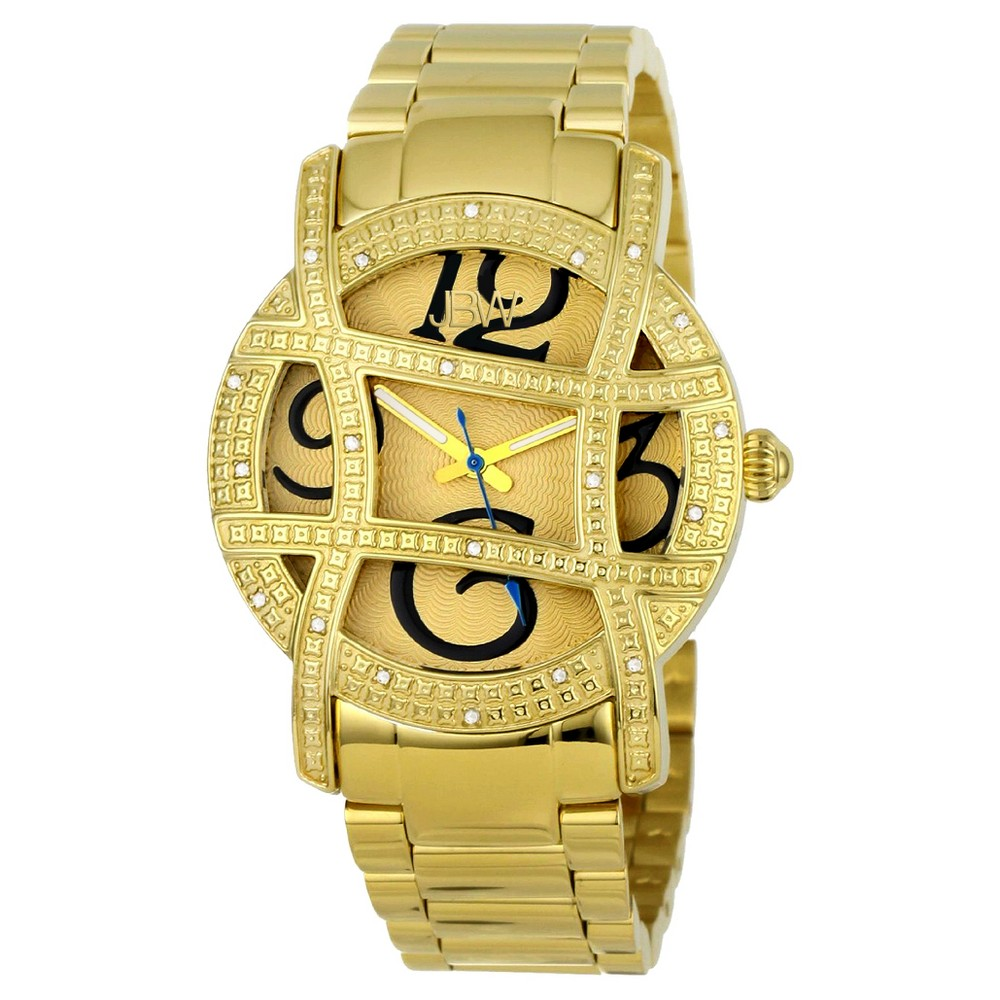 Women's Jbw JB-6214-B Olympia Japanese Movement Stainless Steel Real Diamond Watch - Gold, Gold Shimmer