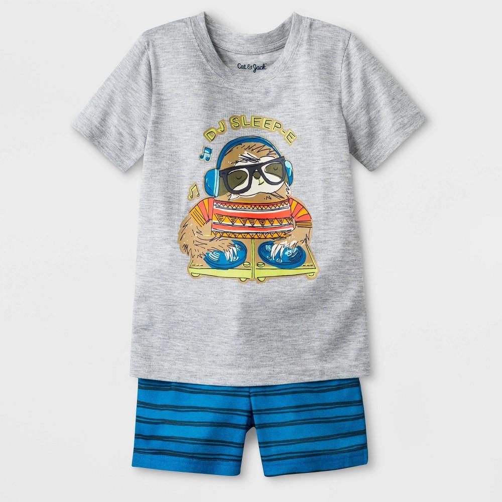 Toddler Boys' DJ Sleep Jersey with Stripped Bottom Pajama Set - Cat & Jack Heather Gray 5T