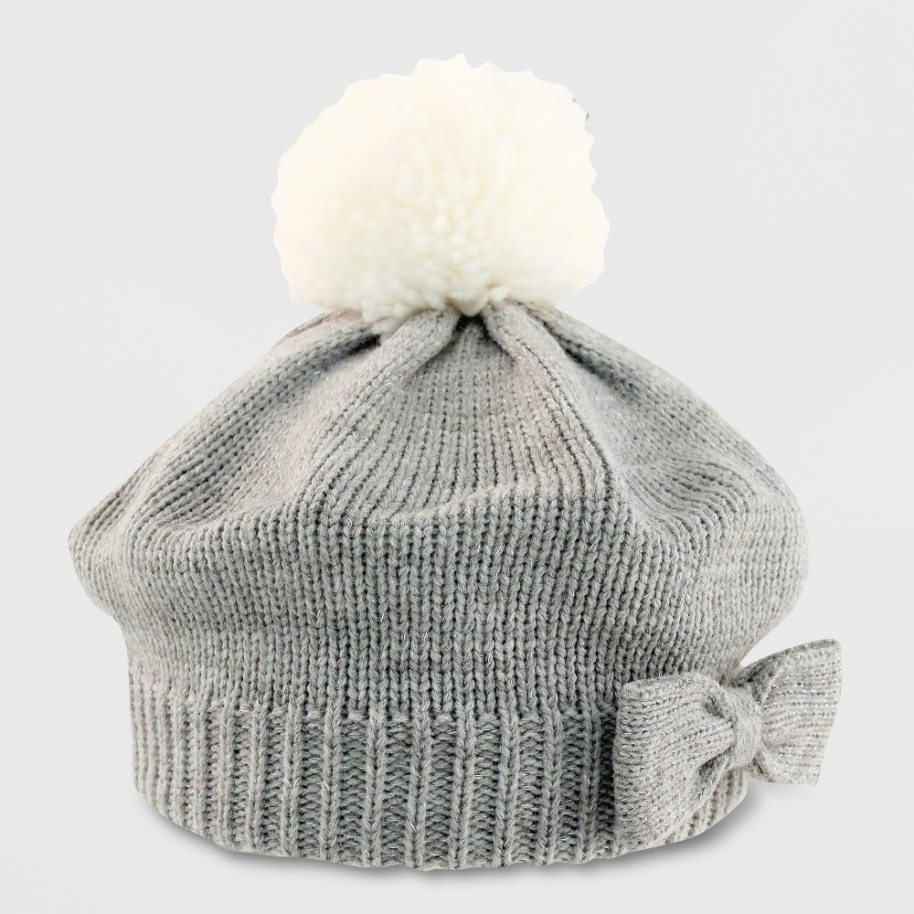 Baby Girls' Knit Beret with Bow - Cat & Jack Gray 12-24M