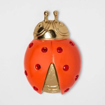 "6"" x 1.4"" Ladybug Decorative Figurine Gold/Red - Opalhouse™"