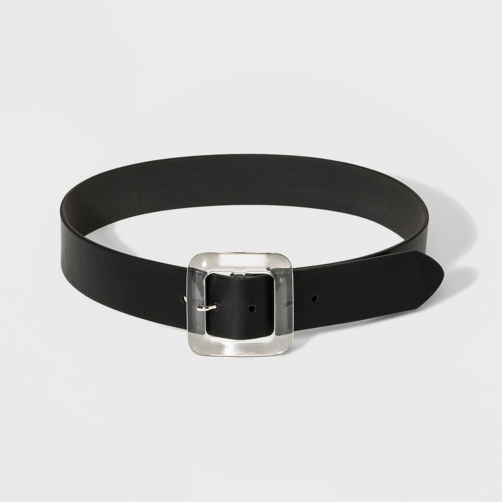 Women's Translucent Square Buckle Belt - A New Day Black S