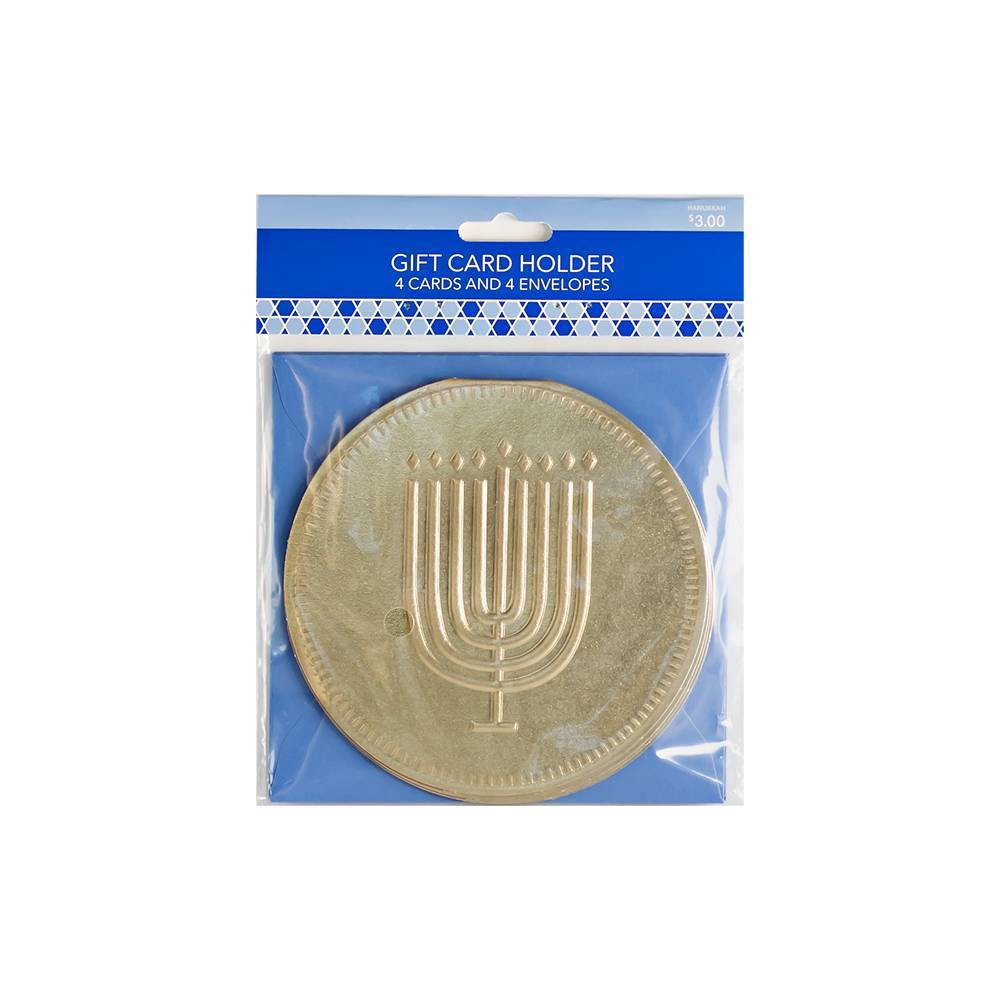Image of Premium Hanukkah Gift Card Holder Gold Coin with Menorah