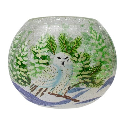 """Northlight 6"""" Hand Painted Owl and Pine Trees Glass Flameless Christmas Candle Holder"""