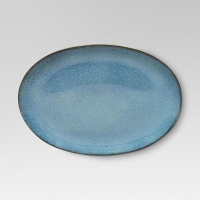 Belmont Round Serving Platter 15x10.7in Stoneware Blue - Threshold™