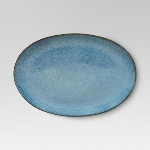 Belmont Round Serving Platter 15x10.7in Stoneware Blue - Threshold™ - image 1 of 1