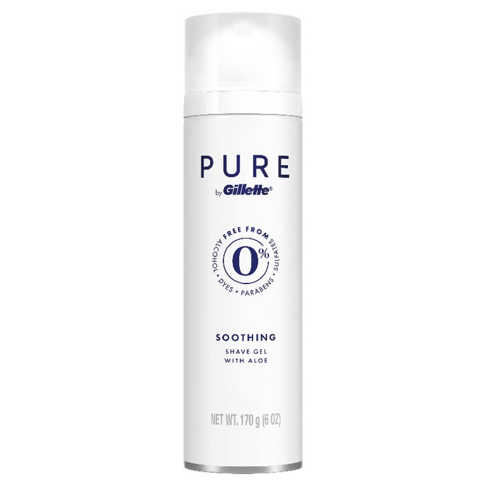 PURE by Gillette is 0percent alcohol, dyes, parabens, and sulfates. PURE shave gel is infused with aloe and helps your razor glide smoothly over your skin. Our specially designed formula will help protect against irritation on sensitive skin during the shave and lightly cool to soothe. Experience dramatically soft skin with every shave.