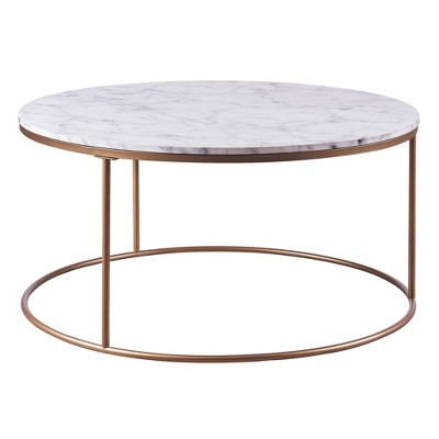 Marmo Round Coffee Table with Faux Marble Top Brass - Teamson Home