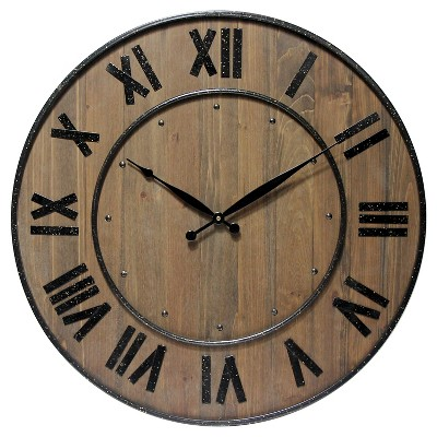The Wine Barrel Round Wall Clock Oak Finish - Infinity Instruments®