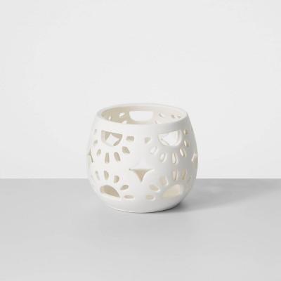 """3"""" Mini Ceramic Tea Light Outdoor Lantern White - Opalhouse™"""
