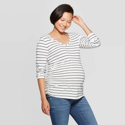 Maternity Long Sleeve Scoop Neck Side Shirred T-Shirt - Isabel Maternity by Ingrid & Isabel™