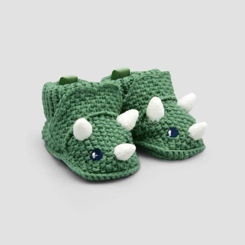 Baby Boys Dino Knit Slippers Just One You Made By Carter S Green Newborn Target