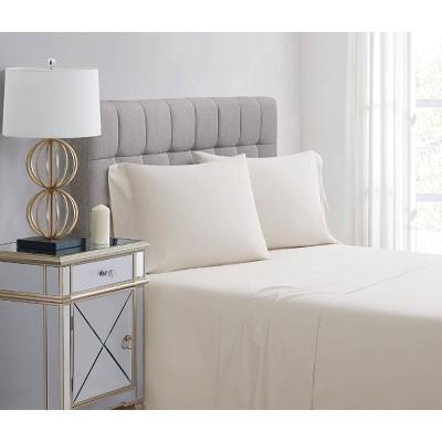 Standard 400 Thread Count Solid Percale Pillowcase Set Almond Milk - Charisma