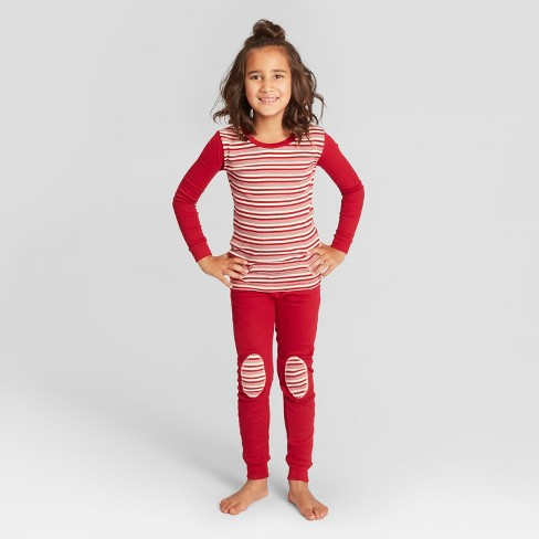 60311faf07 Burt s Bees Baby Kids  Striped Holiday Candy Cane Pajama Set - Red S ...