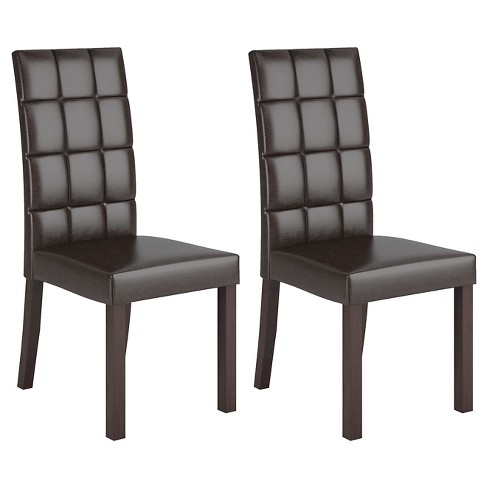 Atwood Leatherette Dining Chair Wood Dark Brown Set Of 2 Corliving