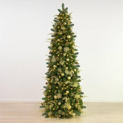 7.5ft Easy Treezy Pre-Lit LED Golden Metallic Pre-Decorated Easy Setup Slim Christmas Tree