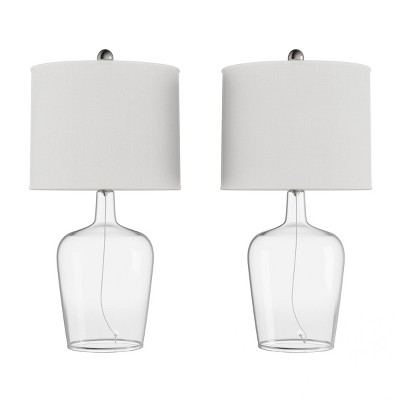 Set of 2 Cloche Style Glass Table Lamps
